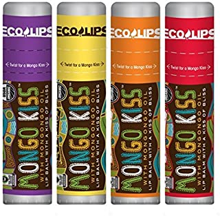 Eco Lips Mongo Kiss Mongongo Oil Lip Balm with Beeswax and Cocoa Butter, 4-Pack (Acai Berry/Banana/Blood Orange/Yumberry F...