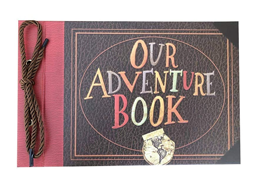 LINKEDWIN Raised Themed Scrapbook Album, 3-D Convex Wedding Guest Book, 11.6 x 7.5 inch, 80 Pages, Adventure