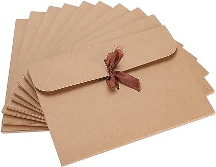 10 Sobres De Papel Kraft Reciclado Sobres Para Regalo Tarjeta De Felicitación Boda Navidad Cumpleaños Sobres Comerciales Para Invitaciones Embalaje De Regalo Amazon Es Oficina Y Papelería