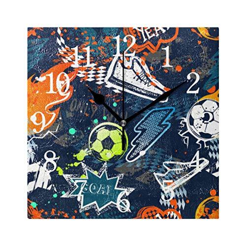 BKEOY, Orologio da Parete in Stile Vintage, con Superficie di Pittura Colorata, Orologio Sportivo da Calcio, Quadrato, Silenzioso, Non ticchettio, Decorazione per la casa