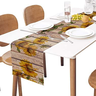 Sunflowers Rustic Table Runner-Cotton linen-Long 72 inche Dresser Scarves,Farmhouse Tablerunner for Kitchen Coffee/Dining/Sof