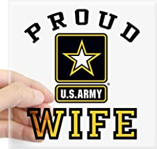"CafePress Proud U.S. Army Wife Square Sticker 3 X 3 Square Bumper Sticker Car Decal, 3""x3"" (Small) or 5""x5"" (Large)"