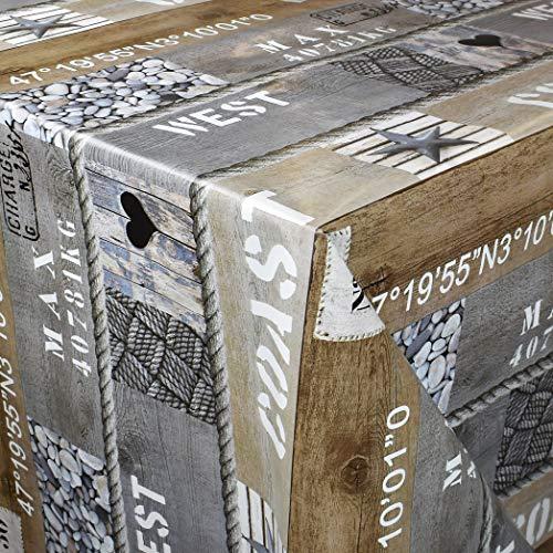 KEVKUS Wachstuch Tischdecke 160 cm Breite Meterware P199-1 maritim Seestern Holz Steine Größe wählbar in eckig rund oval (Rand: Paspel (mit Kunststoffband), 160 x 340 cm eckig)