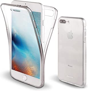 Moozy 360 Degree Case for iPhone 8 Plus, iPhone 7 Plus - Full Body Front and Back Slim Clear Transparent TPU Silicone Gel Cover