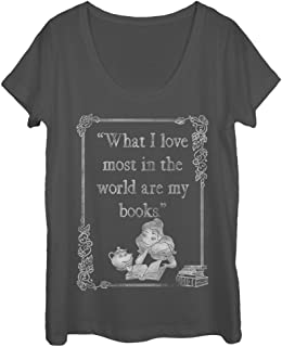 Beauty and The Beast Women's Belle Loves Books Scoop Neck T-Shirt
