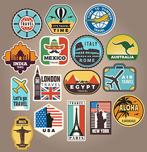 16x Luggage stickers suitcase patches vintage travel labels retro vintage graffiti iphone car stickerbomb style vinyl decals door skateboard cafe