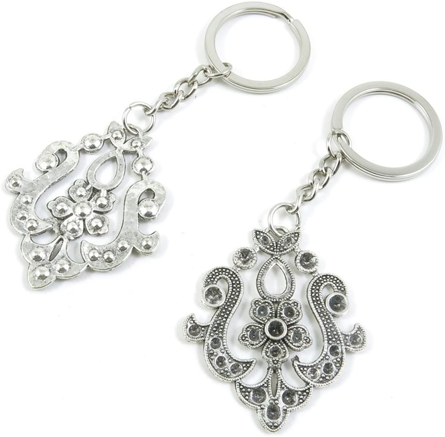 50 Pieces Keychain Keyring Door Car Key Chain Ring Tag Charms Bulk Supply Jewelry Making Clasp Findings W5NH1Y Flower Drop