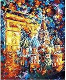 fahut Pintura Digital DIY para Adultos Y Niños Pintar por Kits Numéricos Torre Eiffel En París Alojamiento De Cumpleaños Decoración Navideña Regalos 40X50Cm con Marco