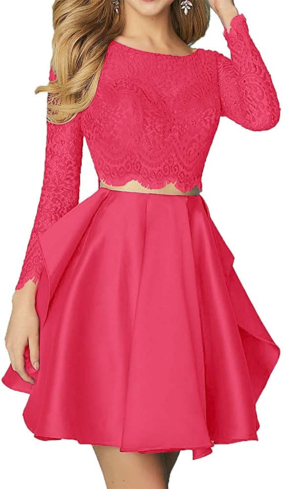 Still Waiting Women's Long Sleeves Lace Two Prom Par Piece Dress depot Max 51% OFF