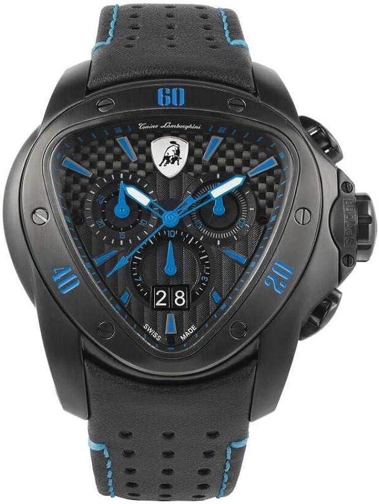 Tonino lamborghini spyder 1101,orologio cronografo,acciaio lucido pvd nero satinato,cinturino in pelle uomo T9SC
