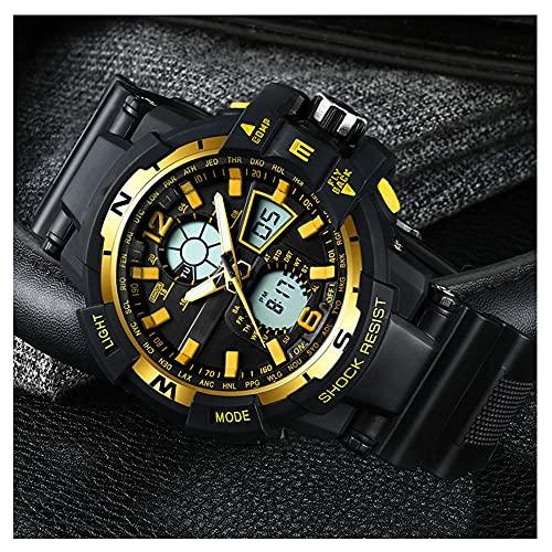 Reloj Digital Hombre Mujer,5ATM Impermeable Esfera Grande,Deportivo Relojes De Pulsera Unisex,con Retroiluminación LED,Resistente Al Agua (Color : Yellow)