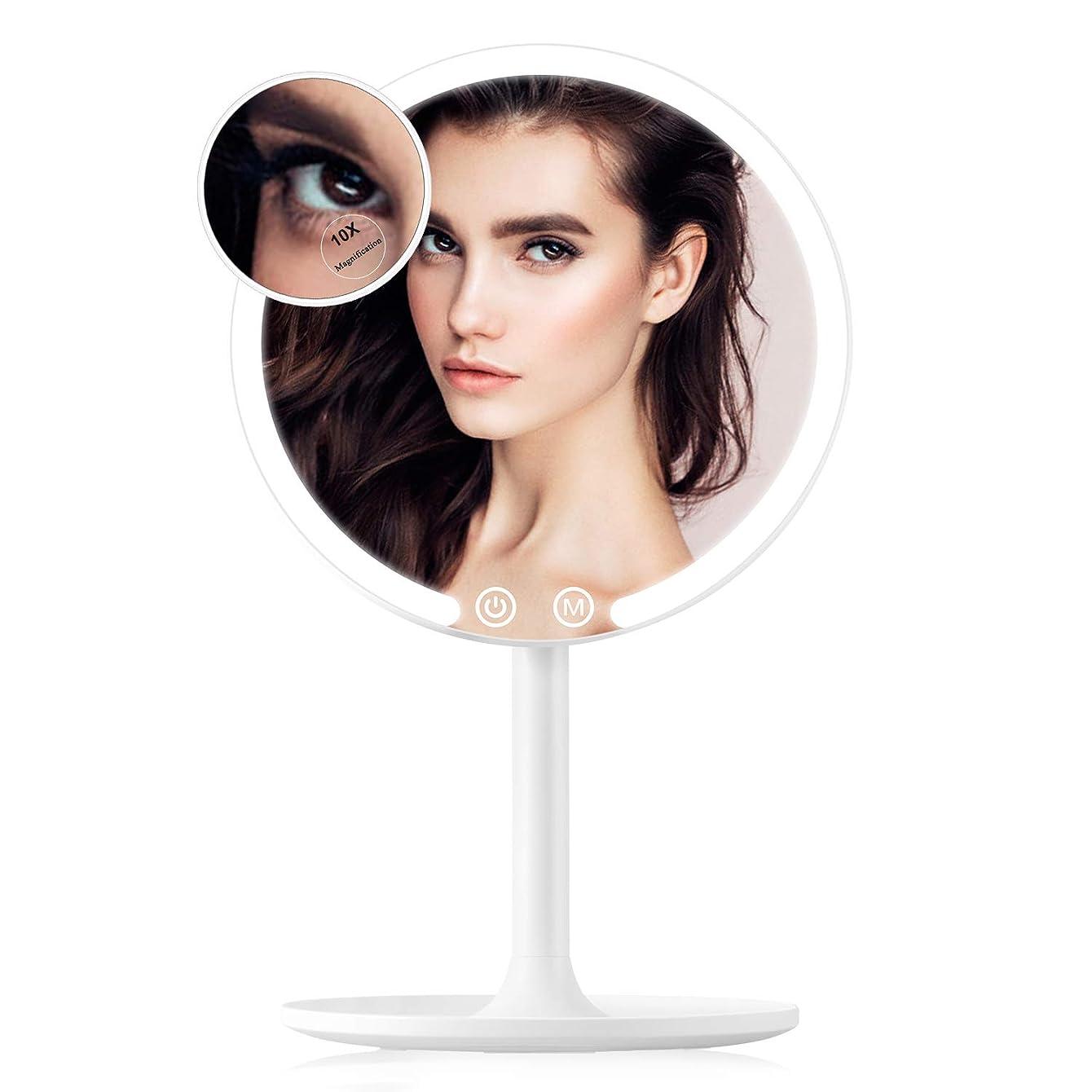 Easehold ミニ卓上化粧鏡 化粧ミラー 充電可能 42個LED付き スタンドミラー 3色のライトモード 調光可能 90°回転 1倍/10倍拡大鏡 取り外し可能 指タッチ メイク スキンケア
