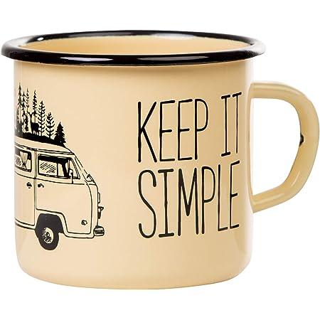 """Mugsy Tazza smaltata con scritta """"Keep it simple & Camperv"""", 330 ml, tazza smaltata, attrezzatura da campeggio (giallo)"""