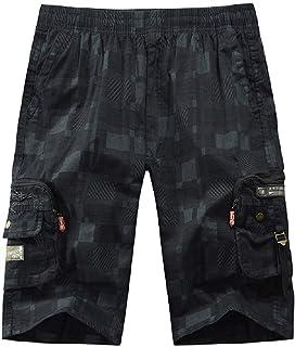 Htx Mens Elastic Waist Outdoor Multi Pockets Casual Cargo Work Shorts