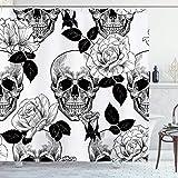 Ambsunny Floral Totenkopf Duschvorhänge Sugar Roes Skelett Blumen Gothic Artwork Stoff Badezimmer Dekor Set mit 12 Haken 152,4 cm B x 180,9 cm H, schwarz weiß
