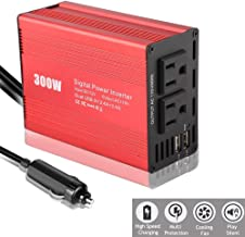 CARBONLAND 300W Power-Inverter Converter DC to AC Outlets with Dual USB Port Car-Charger Adapter Back Up Power Supply (1 Pack, Red)