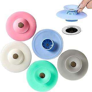 5 Pc Bouchons de Bain,Bouchons d'évier Silicone à Usage général,anti-colmatage et désodorisation d'évier,peut être utilisé...