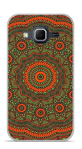 Onozo Cover TPU Gel Morbida Samsung Galaxy Core Prime Design Mandala rosone Bicolore Arancione & Verde