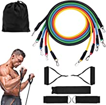 ROMIX Resistance Bands Set, Up to 100 lbs Exercise Band kit 11 pcs with Training Fitness Tubes, Foam Handles, Door Anchor, Ankle Straps, Carry Bag for Men Women, Home Gym Fitness, Physical Therapy