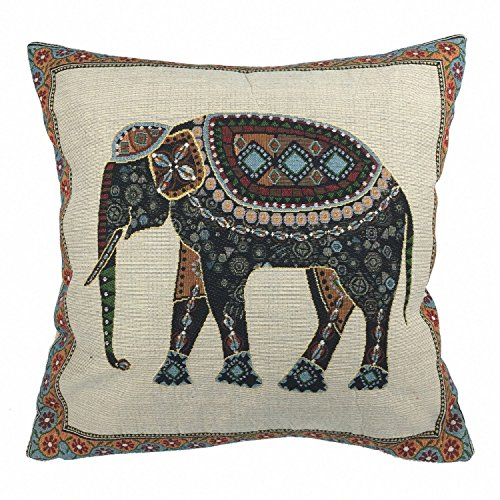 Luxbon Jacquard Lucky Elephant Cushion Covers 18x18 Sofa Throw Ethnic Animal Pillowcase 45x45cm Cotton Linen Cushion Case Covers Festive Holidays Home Decors