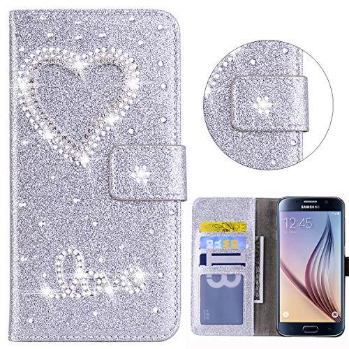 Bling Wallet Case for Samsung Galaxy S6 Edge Pocket Case Silver Glitter 3D Diamond Heart Bling Glitter Pattern PU Leather Folio Flip Case Kickstand Magnetic Book Wallet for Samsung Galaxy S6 Edge
