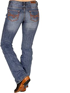 Rock N Roll Cowgirl Womens Cowgirl Rust Stitch Light Wash Riding Jeans