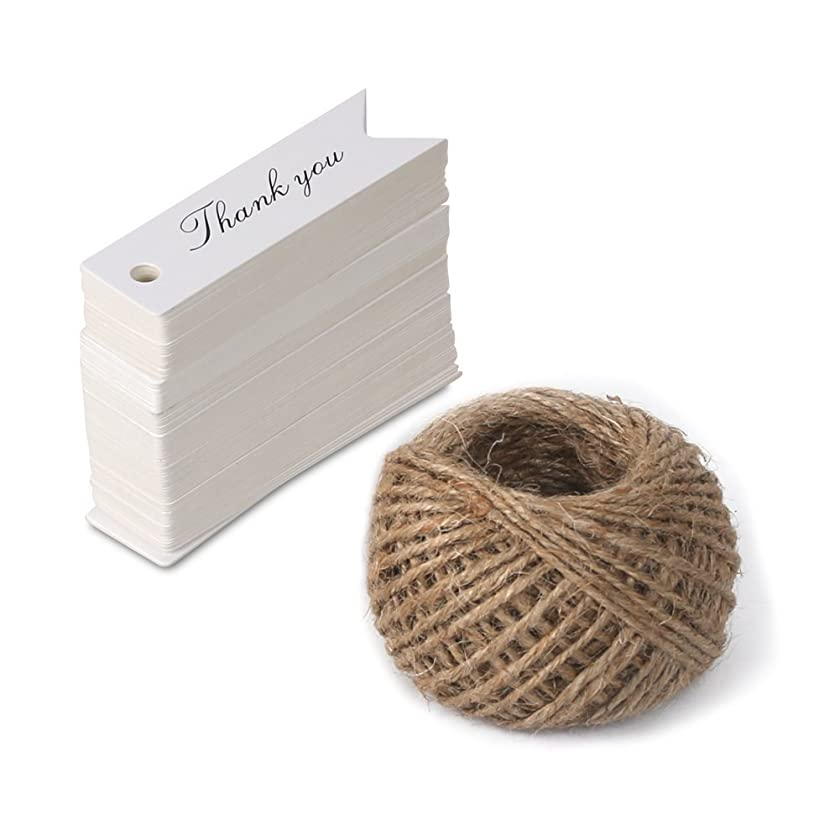 Father's Day Tags,Thank You Tags,Gift Wrap Tags with String,KINGLAKE 100 Pcs Paper Hang Tags with 100 Feet Jute Twine for Wedding Party,Christmas,Thanksgiving (White)
