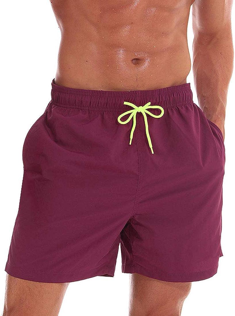 utcoco Men's Elastic Waist Bathing Board Mesh Lining Quick Dry Gym Colorful Swim Trunks Shorts