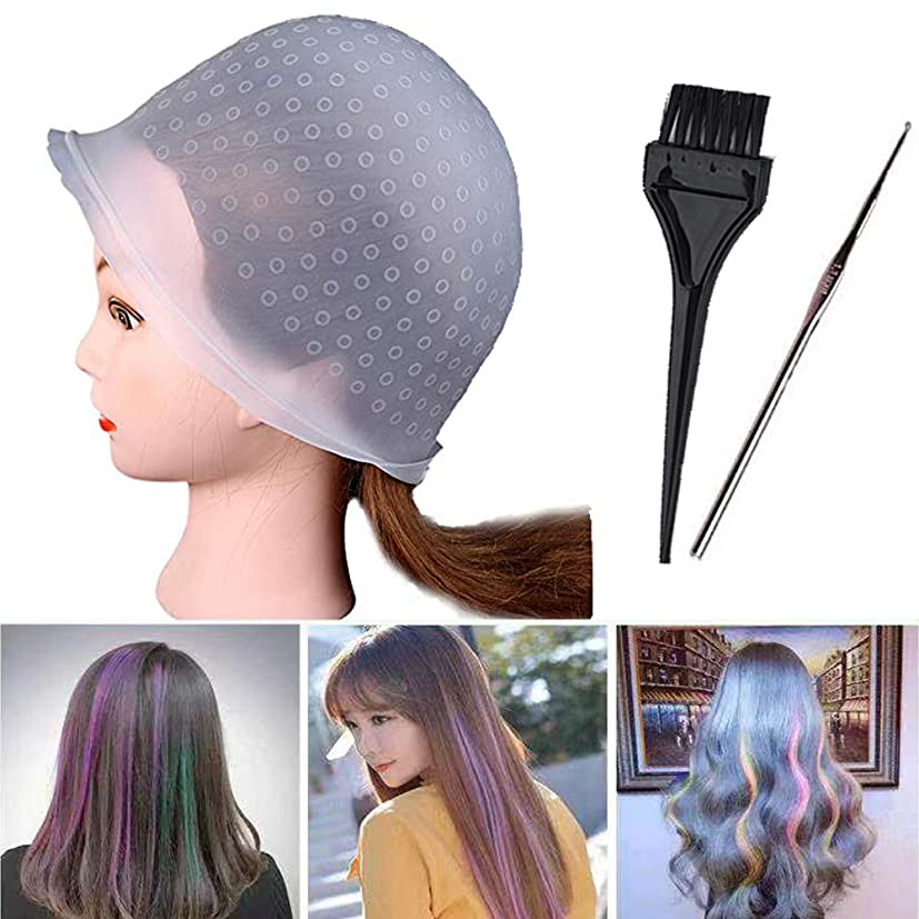 消費者嬉しいです代理店SHKI 毛染めキャップ 髪染め用ヘアキャップ シリコン製 ヘアカラーヘアキャップ 自宅でヘアカラーを楽しんで美容サロン仕様 棒とブラシ付き