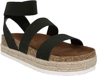 Syktkmx Womens Flat Platform Espadrille Elastic Strappy Buckle Ankle Strap Sandals