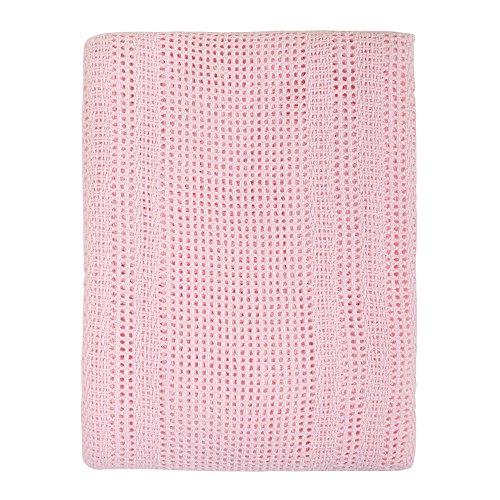 Junior Joy 6150PI - Manta celular para cuna, de algodón, 130 x 180 cm, color rosa