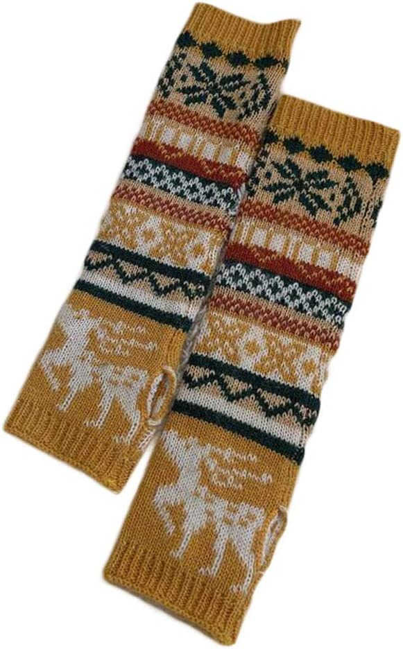 Christmas Elk Womens Winter Warm Arm Sleeve Fingerless Thumb Hole Gloves Mittens Knitted Arm Warmer, Yellow