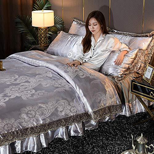 ropa de cama 135x190 3 piezas,Cubierta de cubierta de nórdicas para niñas Seda rosa como juego de ropa de cama de satén Tapa de microfibra de color sólido tamaño queen con 2 farsas de almohada suave