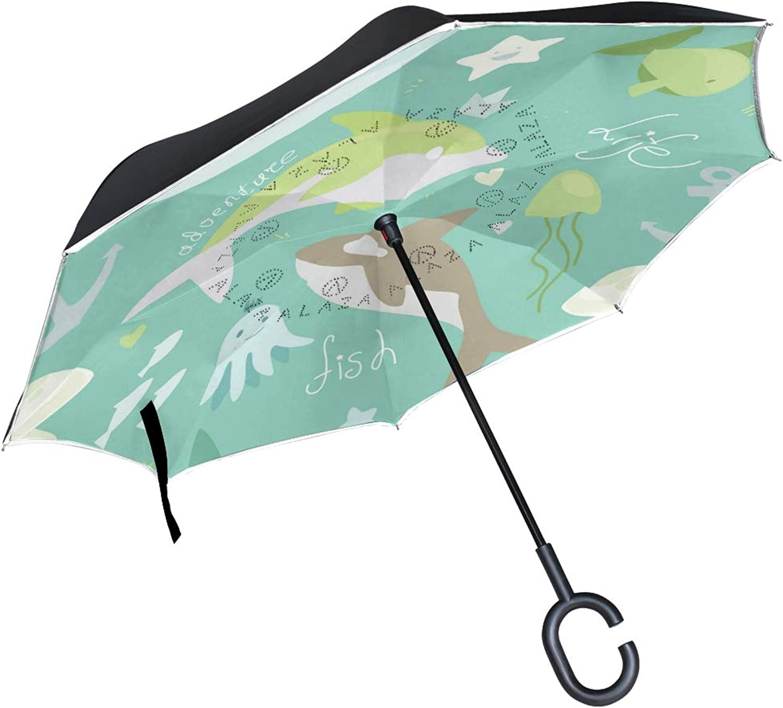 Ingreened Umbrella Double Layer Reverse Umbrella Waterproof Windproof UV Predection Straight Umbrella with CShaped Handle Sea Life Animals Digital Printing for Car Rain Outdoor Use