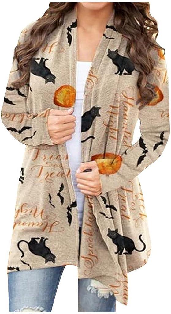 AODONG Cardigan for Women Summer Sweaters Plus Size Fall Halloween Long Sleeve Cute Pumpkin Black Cat Ghost Lightweight Coat