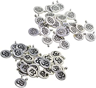 double sided Yoga charms Tibetan style Ohm jewelry charms silver jewelry charms charm bracelet jewelry making 10 charms per pack