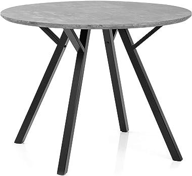 GAOYH Table à manger ronde 100 cm en béton