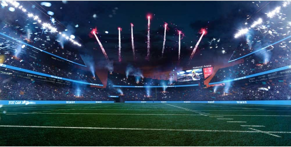 Leowefowa 12x8ft Large Vinyl Photography Backdrop Empty American Football Field Stadium Spotlights Fireworks Night View Backdrop for Party Film Event Photo Shoot Video Studio Photo Booth Props