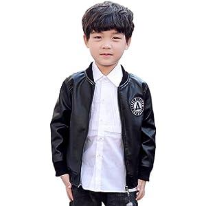 [もうほうきょう] ボーイズコート ライダースジャケット PUレザー 男の子 子供服 ショートジャケット 春秋 新型 (ブラック, 140cm)