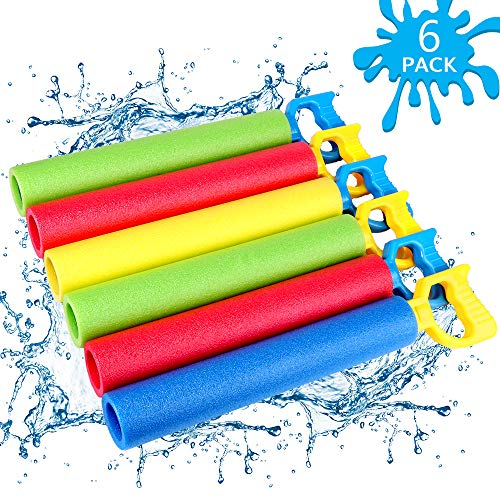 NZQXJXZ Foam Water Shooter for Kids, 6 Pack Water Guns Toys Water Blaster for Boys Girls Adults...