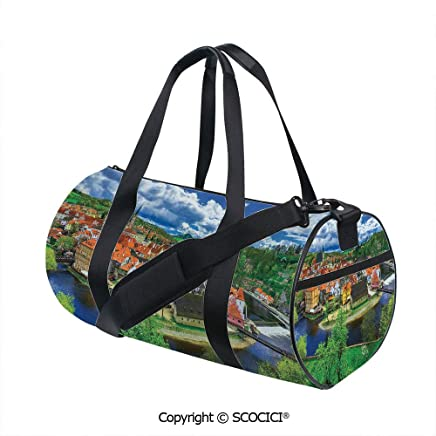 Nylon Ribbon Sports Backpack,Cesky Krumlov Czech Republic Buildings Cathedral Touristic Place Panoramic PictureSports and Fitness Essentials,(17.6 x 9 x 9 in)