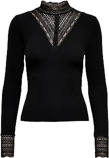 ONLY Damen Onltilde L/S High Neck Lace Top JRS Langarmshirt