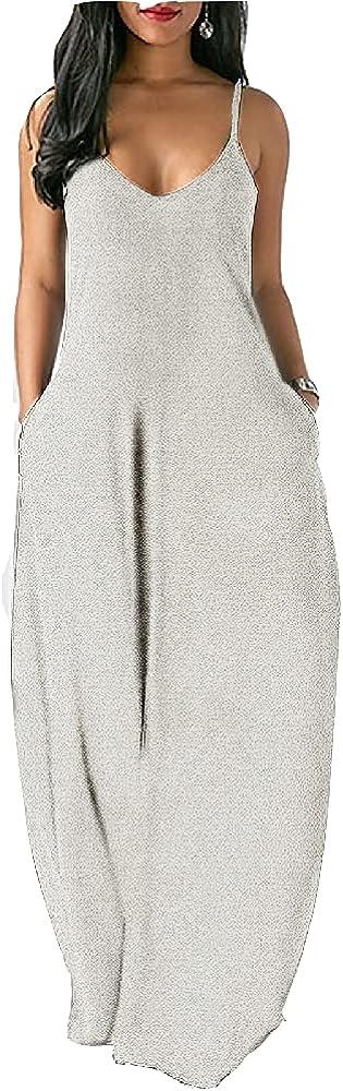Womens Maxi Sundress Comfy Dress Summer Sexy Beachwear Spaghetti Strap Beach Clothing White