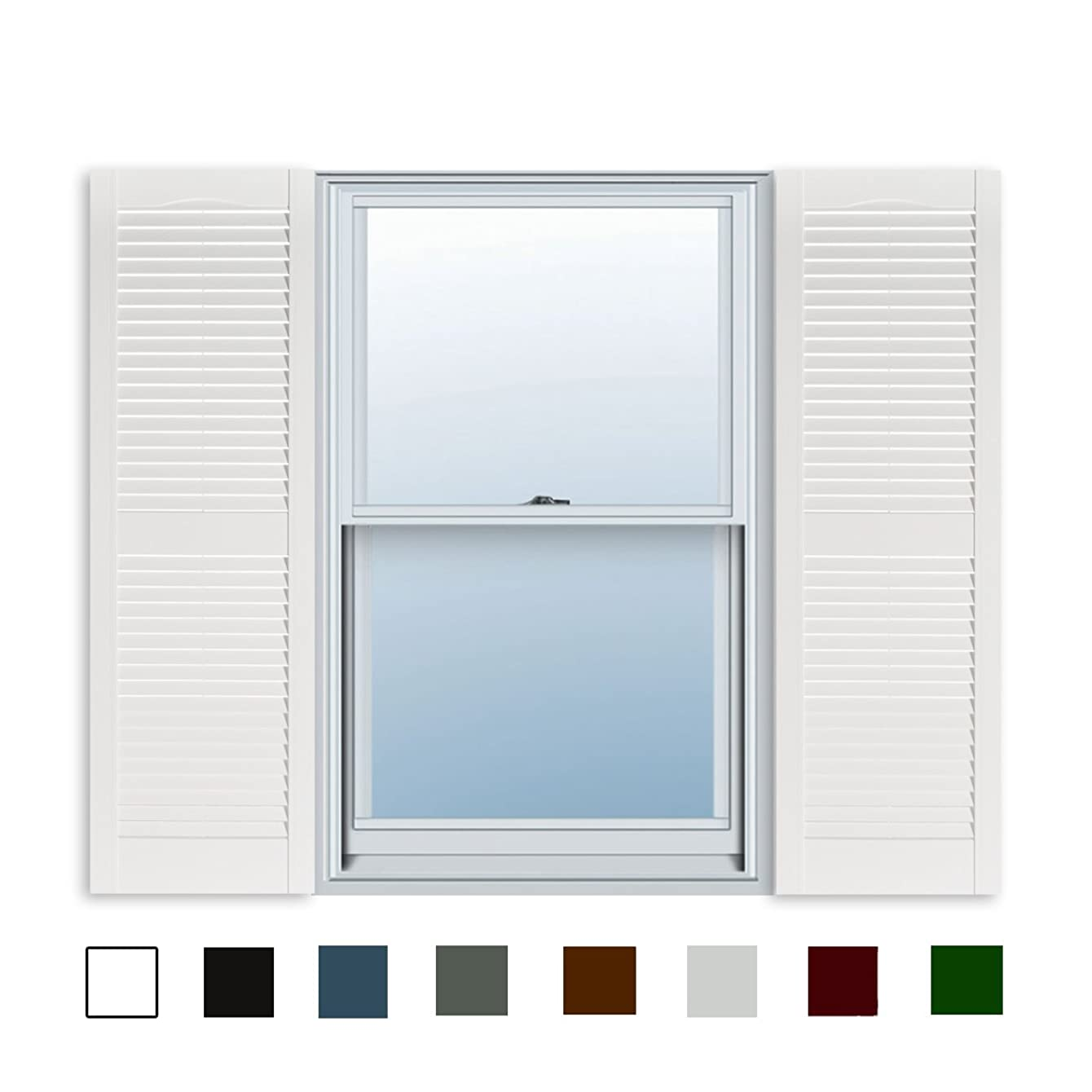 15 Inch x 59 Inch Standard Louver Exterior Vinyl Window Shutters, White (Pair)