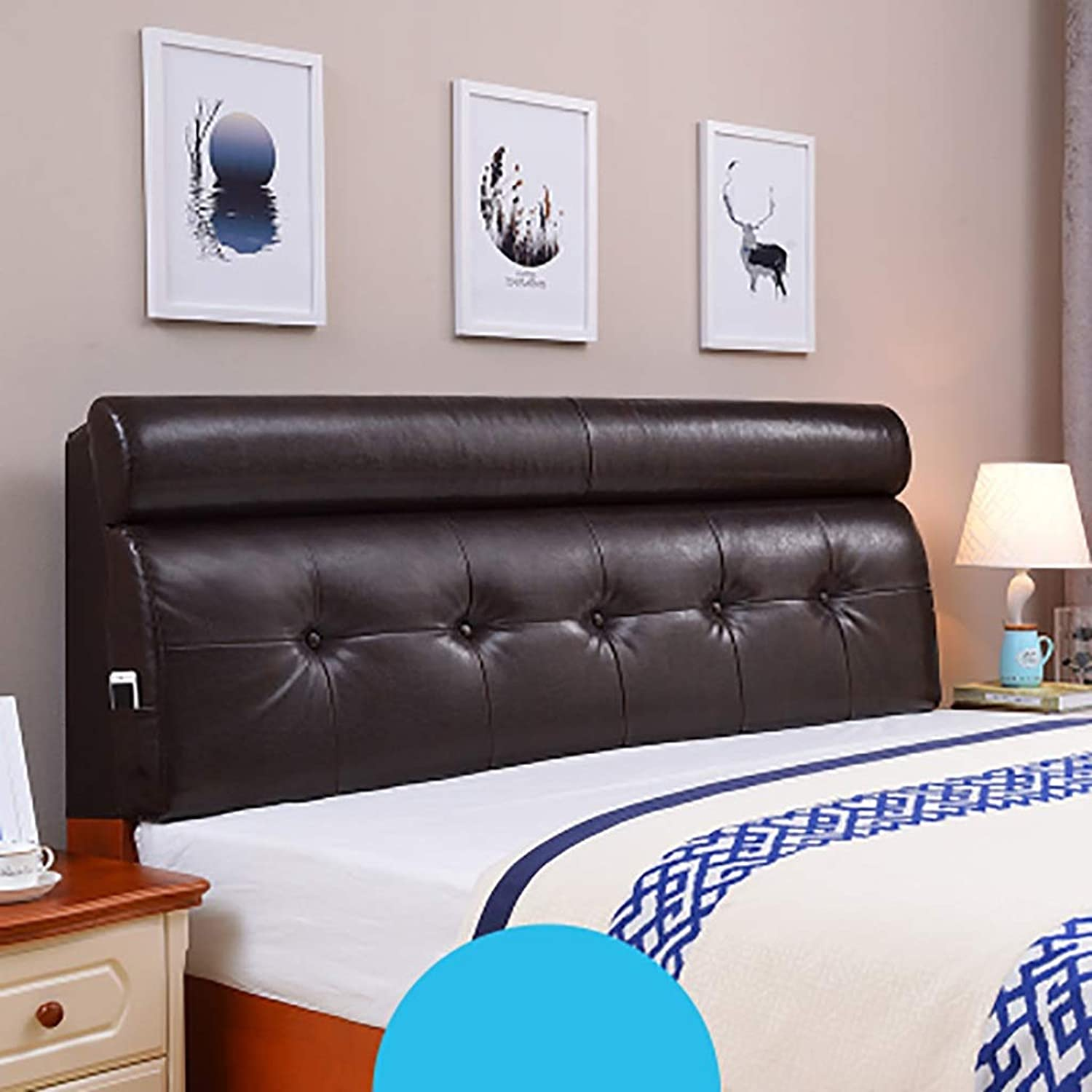 Headboard Bed Backrest Cushion Bed Cushion Bedside Pillow Leather with Bed headboard Large Soft Pillow Lumbar Support,Detachable 5 Solid colors 14 Sizes (color   Dark Brown, Size   100  60  10CM)