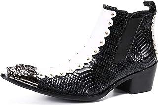 YIZHIYA Chaussures en Cuir Pointues pour Hommes,Bottes en Cuir véritable à Pointe métallique rétro de Style Britannique,Bo...