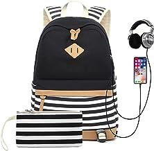 MINGZE Schulrucksack, Mädchen Teenager Streifen Schultasche Segeltuch Rucksack mit 15.6 Zoll Laptopfach mit USB Ladeanschluss und Geldbeutel Tasche 2 Stück Schwarz