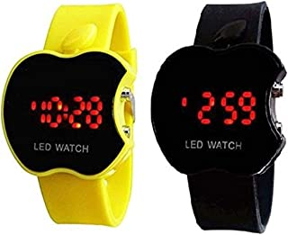 Swissrock Yellow and Black Combo Apple Shape Kids Digital LED Wrist Watch
