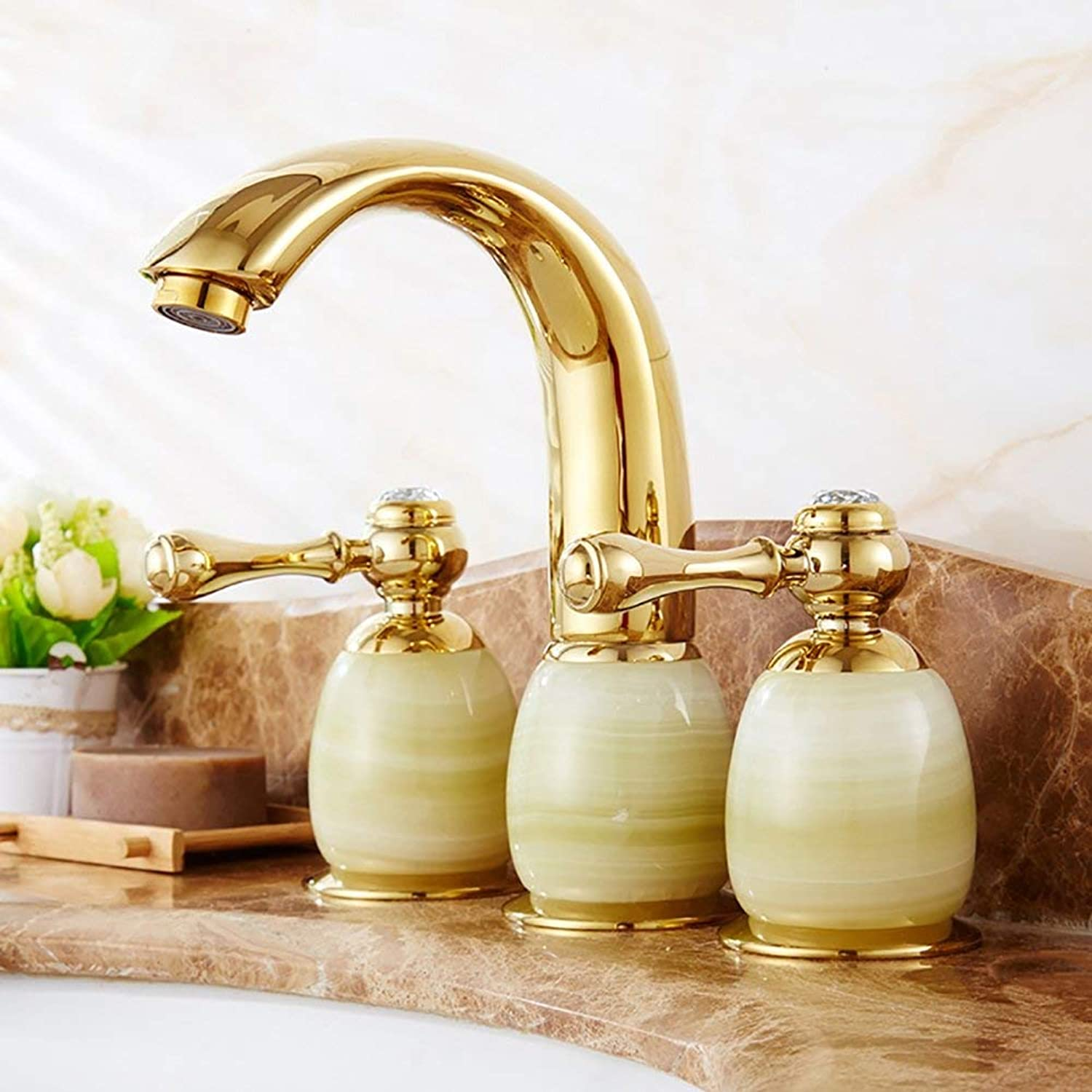 ZLL Home Hotel Bathroom, Sink, Basin Taps, Water-Tap-Basin Mixer Three-Hole Jade Bowldertable Basin Faucet Double Handle Green Stone and golden,Sink Mixer Faucet,B