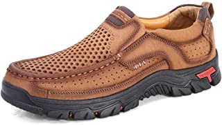 ZUAN Fashion Sneakers for Men Breathable Walking Hiking Shoes Casual Slip On Rhythm Toe Anti-Slip Leather Upper Outside Trekking Shoes Wear Resistant